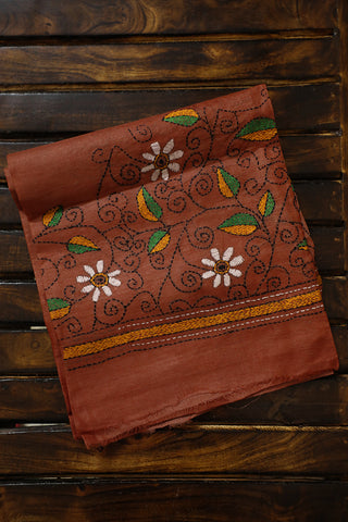 Brown Floral Kantha Work  Blouse Fabric