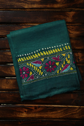 Green Bordered Kantha Work Silk Fabric