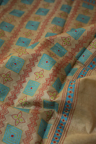 Beige with Blue Embroidered Kantha Work Blouse Fabric