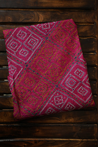 Dark Pink Kantha Work Tussar Silk Blouse Fabric