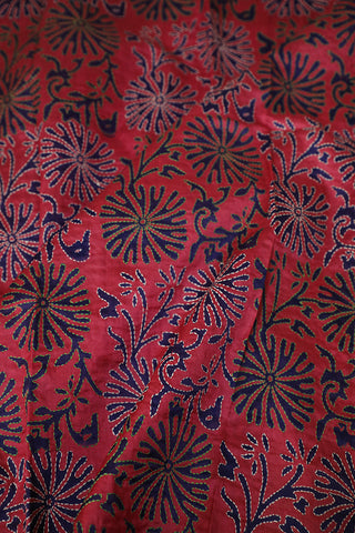 Floral Kantha Work Tussar Silk Blouse Fabric