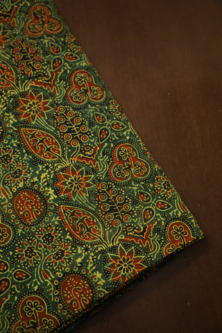 Green Leaves Ajrak Block Printed Cotton Fabric