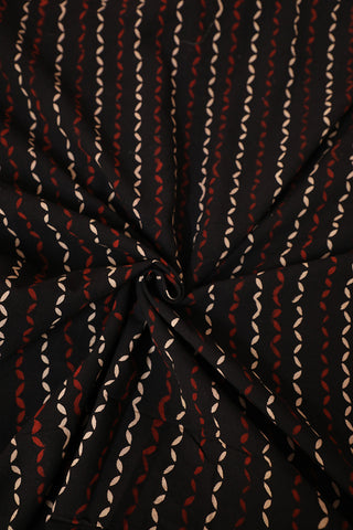 Beige and Maroon in Black Block Printed Cotton Fabric
