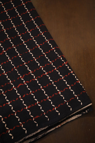 Black Boxed Block Printed Cotton Fabric