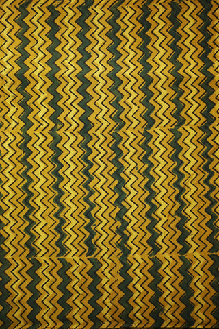 Yellow with Green Zigzags Ajrak Cotton Fabric