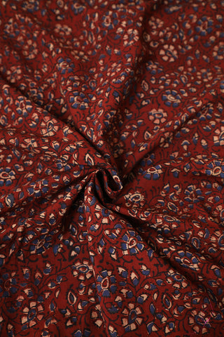 Small Blue Florals in Maroon Ajrak Block Printed Fabric