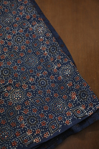 Small Maroon Floral in Blue Ajrak Cotton Fabric