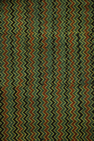 Green with Yellow Zigzags Ajrak Block Printed Cotton Fabric