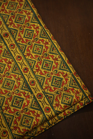 Yellow with Green Block Printed Ajrak Cotton Fabric