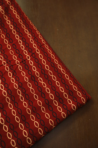 Maroon with Oval Block Printed Ajrak Cotton Fabric