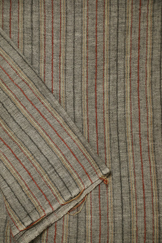 Lines in Grey Handwoven Kala Cotton Fabric