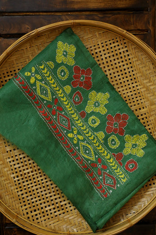Green Floral Kantha Embroidered Silk Blouse