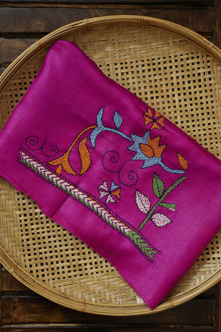 Magenta Pink Embroidered Tussar Silk Blouse