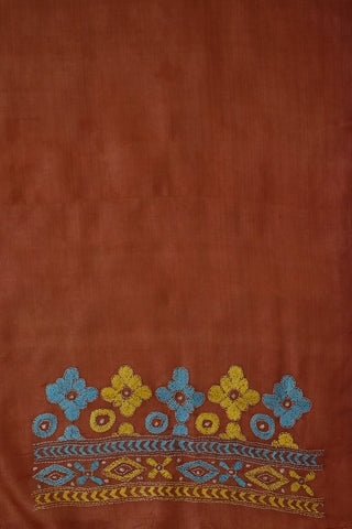 Brown with Yellow Embroidered Tussar Silk Blouse Fabric