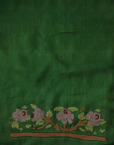 Subdued Green Kantha Embroidered Tussar Silk Blouse Fabric