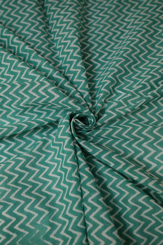 Bluish Green Zig Zag Mul Cotton Fabric-1.7 m