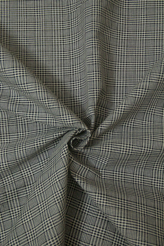 Black with White Fine Checks Handwoven Cotton Fabric- 1.7 m