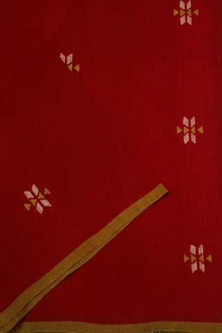 Red Intricate Buta Jamdani Cotton Fabric-1 m