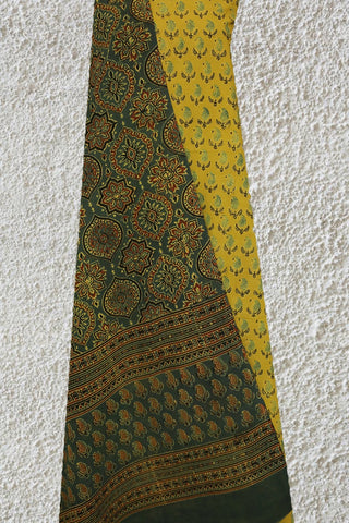 Yellow Paisley Block Printed Ajrak 3 Piece Suit