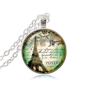 Vintage Eiffel Tower Glass Tile Pendant - Butterfly