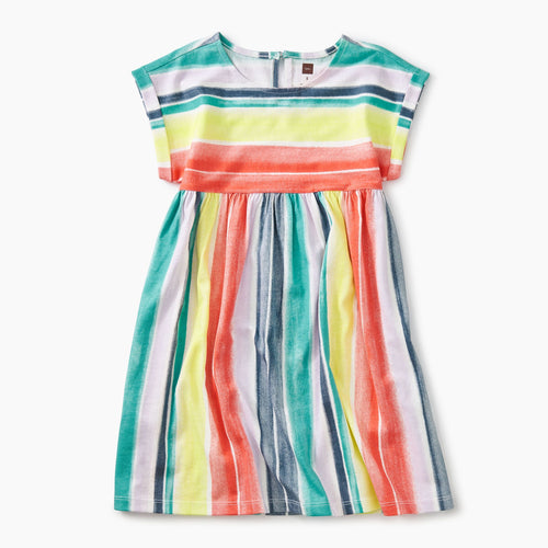Watercolor Stripe Printed Empire Dress