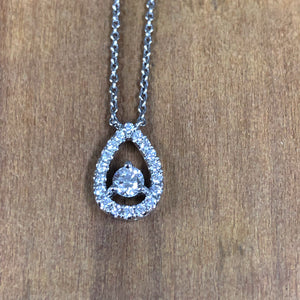 14K White Gold Round Diamond Pear Shaped Roman & Jules Pendant Necklace - The Jewelers Lebanon