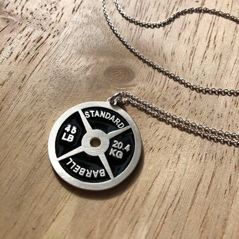 Large 45lb Weight Plate Necklace