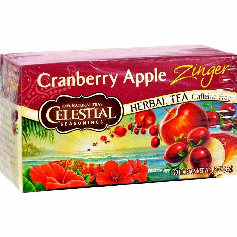 Celestial Seasonings Herbal Tea Caffeine Free Cranberry Apple Zinger - 20 Bags - Case Of 6