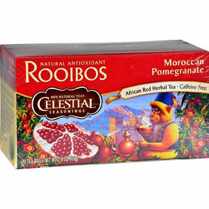 Celestial Seasonings Red Tea Caffeine Free Moroccan Pomegranate - 20 Bags - Case Of 6