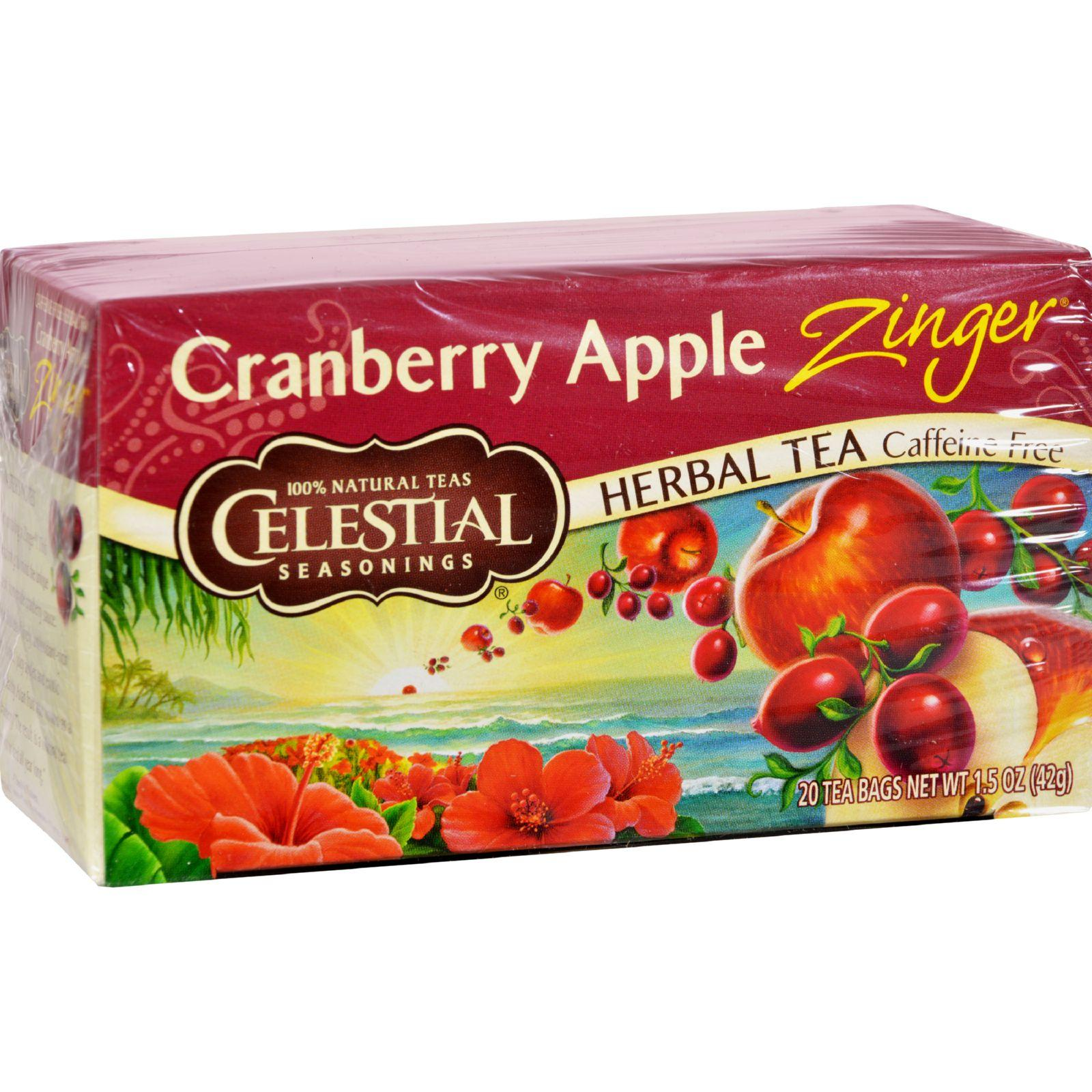 Celestial Seasonings Herbal Tea Caffeine Free Cranberry Apple Zinger - 20 Tea Bags - Case Of 6