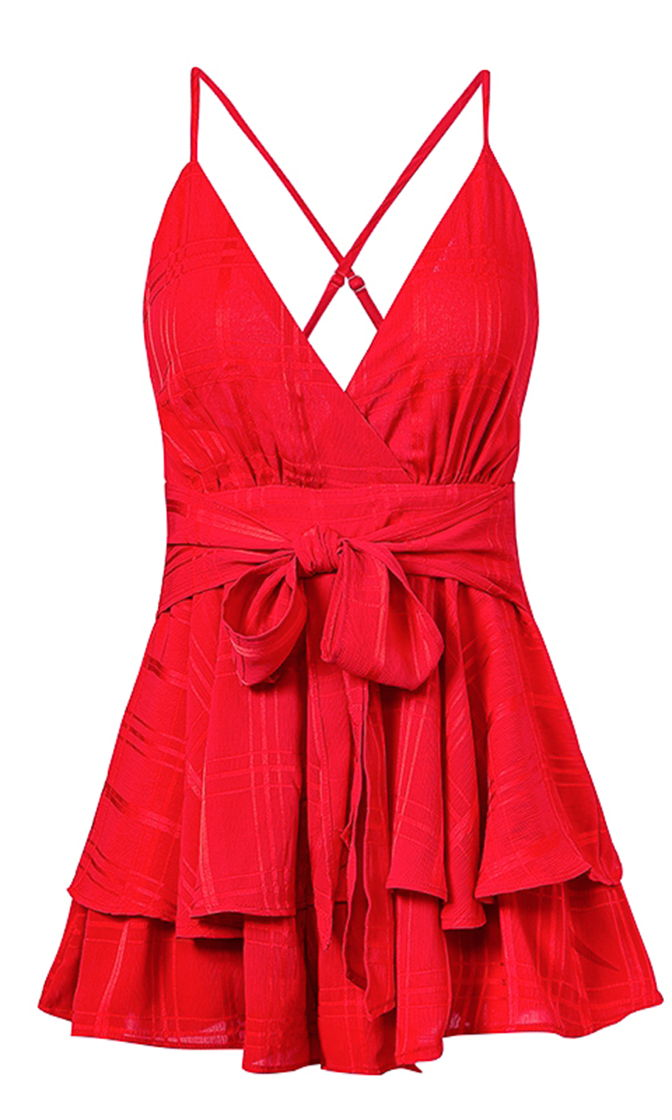 Must Be Lovely Red Playsuit Sleeveless Spaghetti Strap Checkered Plaid Romper Tie Waist V Neck