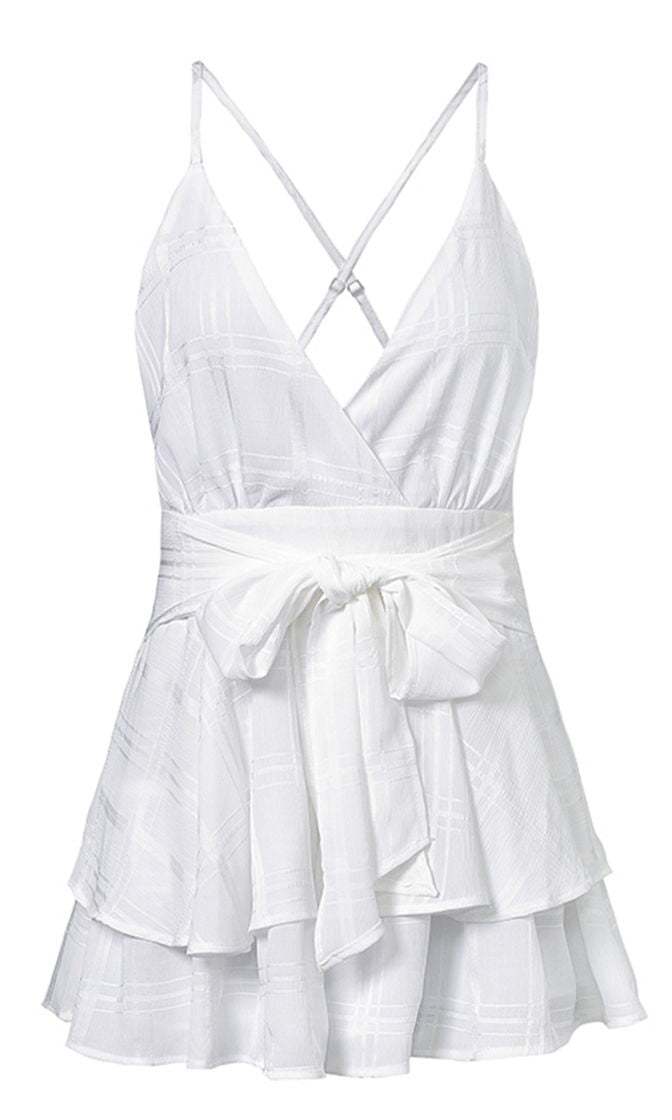 Must Be Lovely White Playsuit Sleeveless Spaghetti Strap Checkered Plaid Romper Tie Waist V Neck