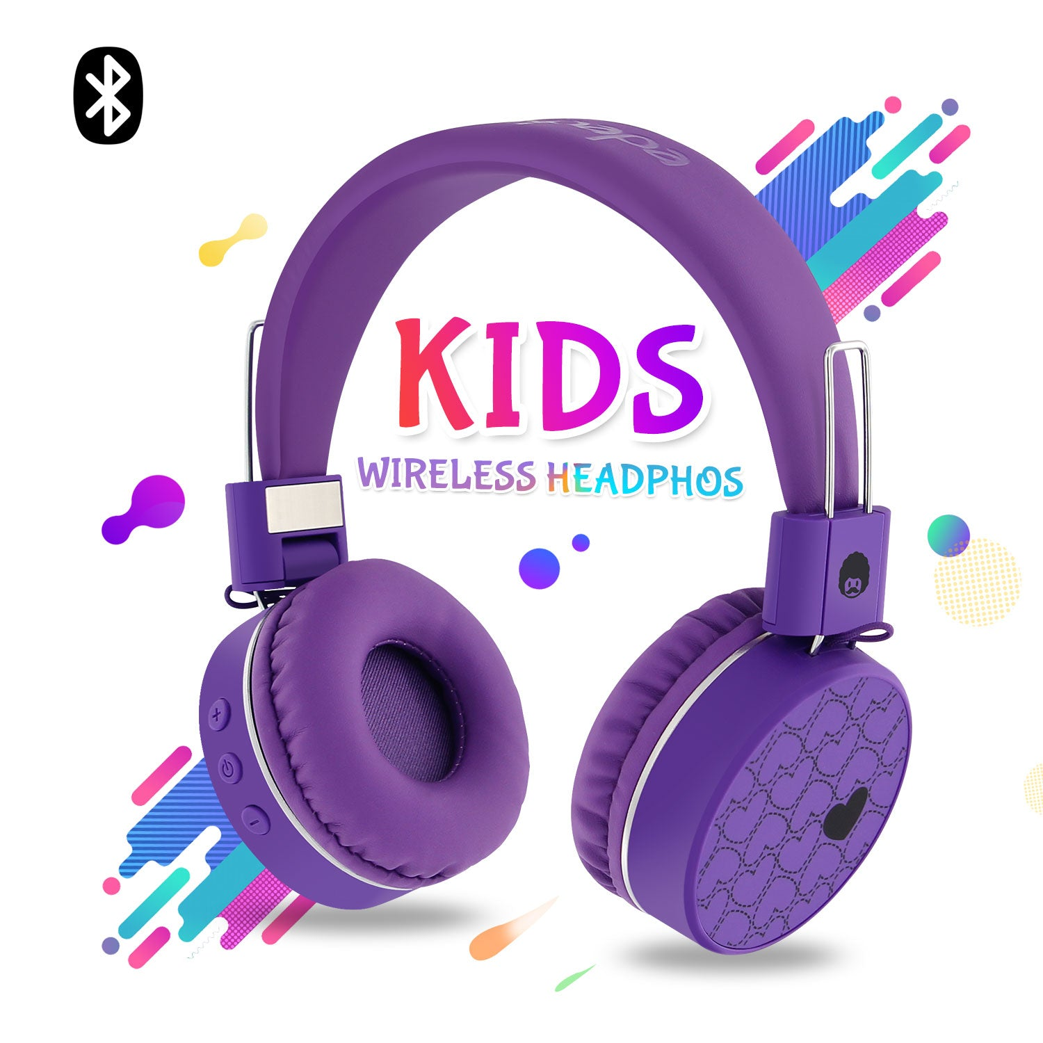 WKD80 Kids Wireless Bluetooth Foldable Stereo Headphones Purple