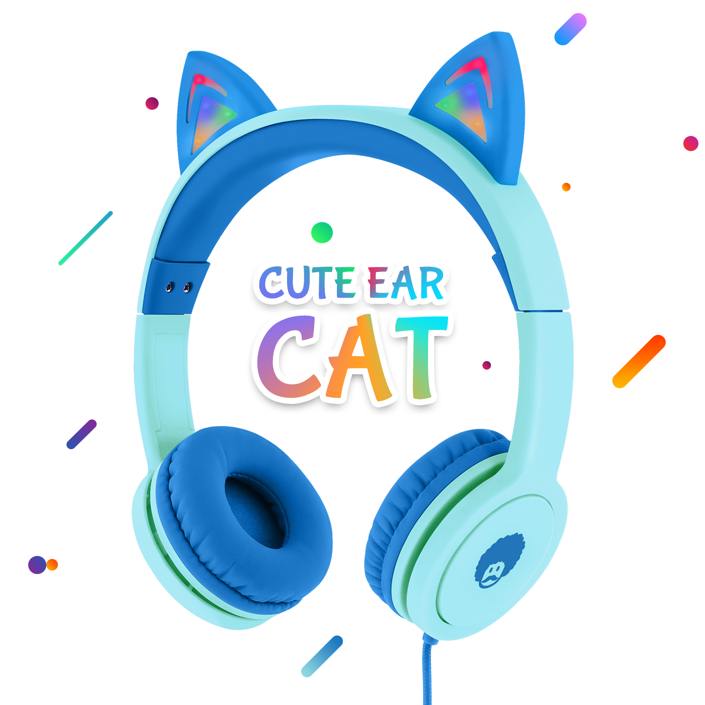 Cute Qiwoo Cat Kids Headphones LED Flashing Light Ears Blue