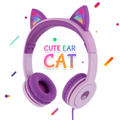 Cute Qiwoo Cat Kids Headphones LED Flashing Light Ears Purple