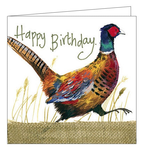 Alex Clark Happy Birthday fun and game for him Nature Countryside pheasants birds Happy Birthday card Nickery Nook