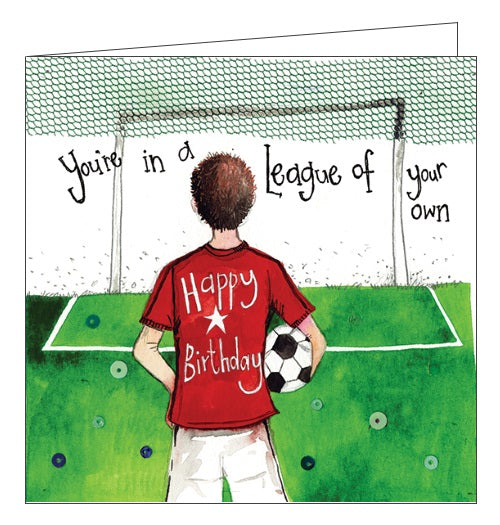 Alex Clark for him Happy Birthday You're in a league of your own football footie for kids Happy Birthday card Nickery Nook