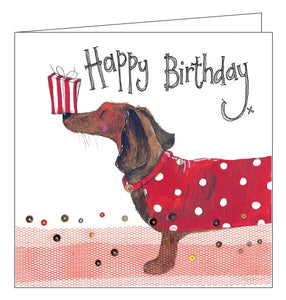 Alex Clark happy birthday dogs dachshund birthday card Nickery Nook