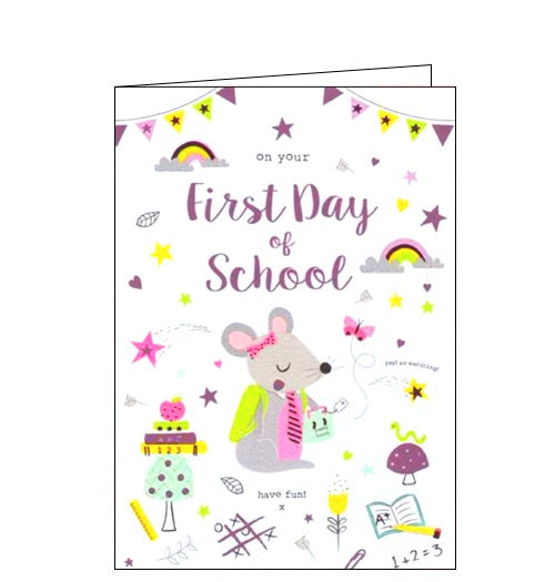 ICG pink first day of school card Nickery Nook