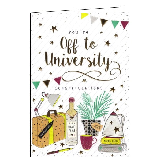 ICG you're off to university congratulations card good luck card Nickery Nook