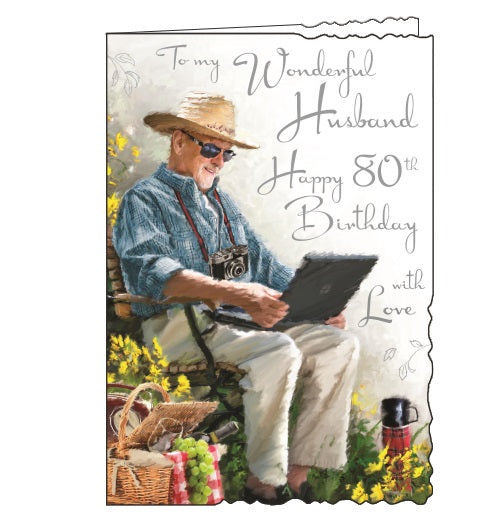 Jonny Javelin velvet husband 80th birthday card Nickery Nook