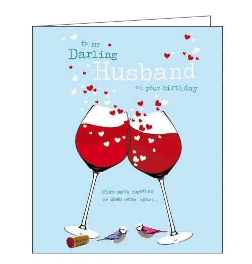 Woodmansterne Birdsong  to my darling husband Happy birthday husband card Nickery Nook new