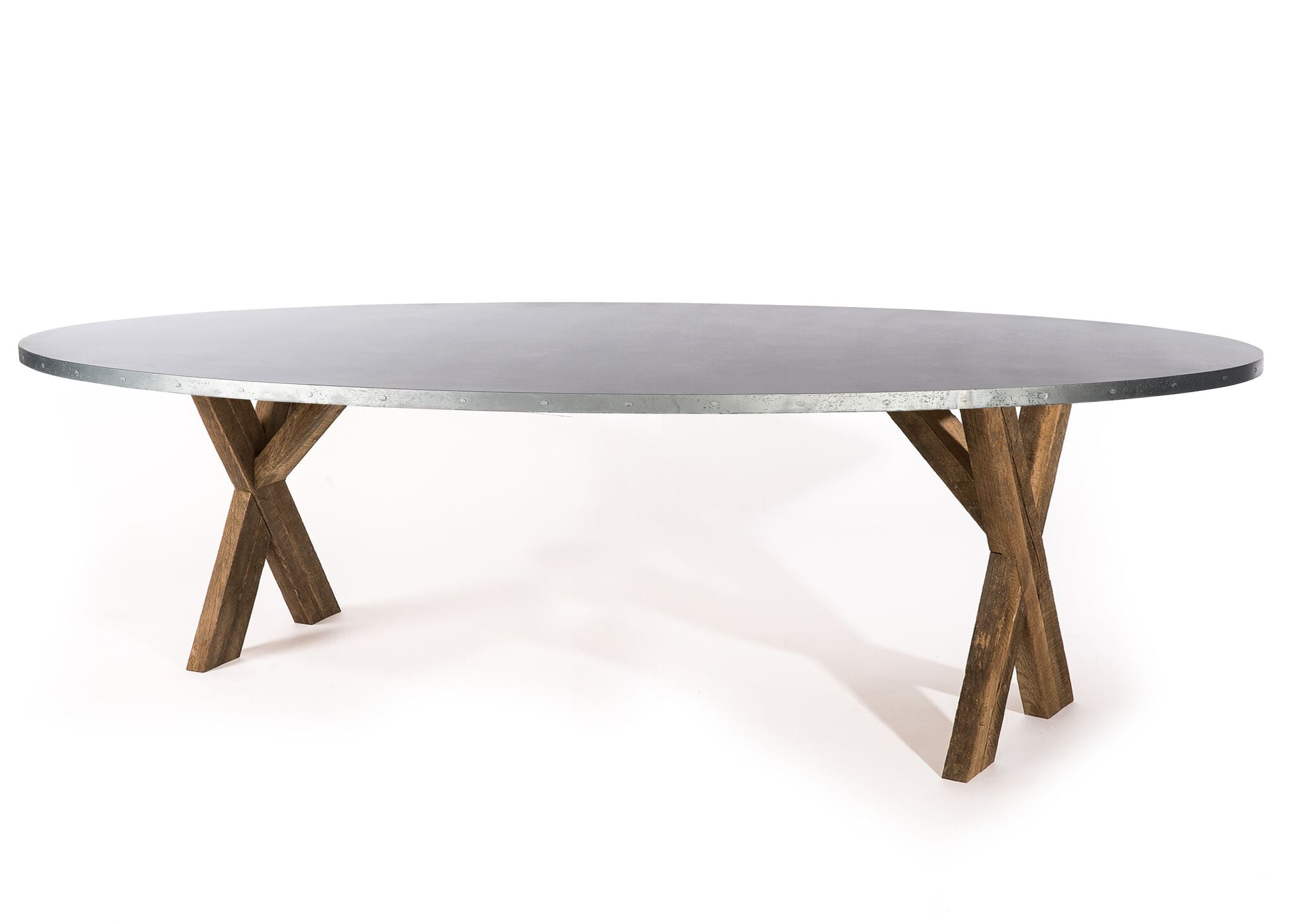 "Zinc Oval Tables | X Base Trestle Table | BLACKENED BRONZE | Weathered Grey on Reclaimed Oak | CUSTOM SIZE L 120 W 43 H 30 | 1.5"" Standard 