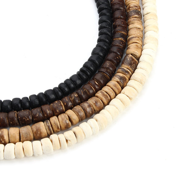 3strand 5mm Natural Oblate Wood Beads Fit Necklace Bracelet Findings Loose Space Wooden Beads For Jewelry Making Houten Kralen