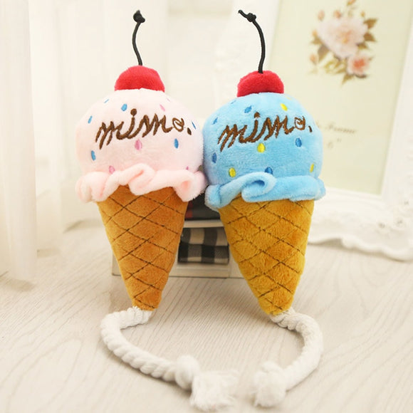 Lovely Puppy Pet Dog Chew Toy Play Squeaker Cute Cat Dog Ice Cream Rope Toys Squeaky Plush Sound for Pet Product 2017ing