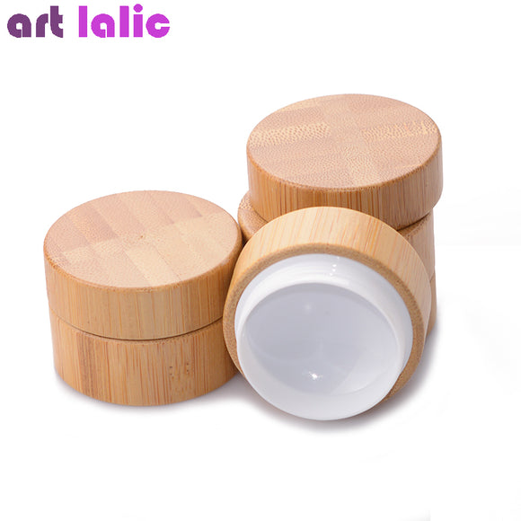 5g 10g High Qualtiy Bamboo Bottle Cream Jar Nail Art Mask Cream Refillable Empty Cosmetic Makeup Container Bottle