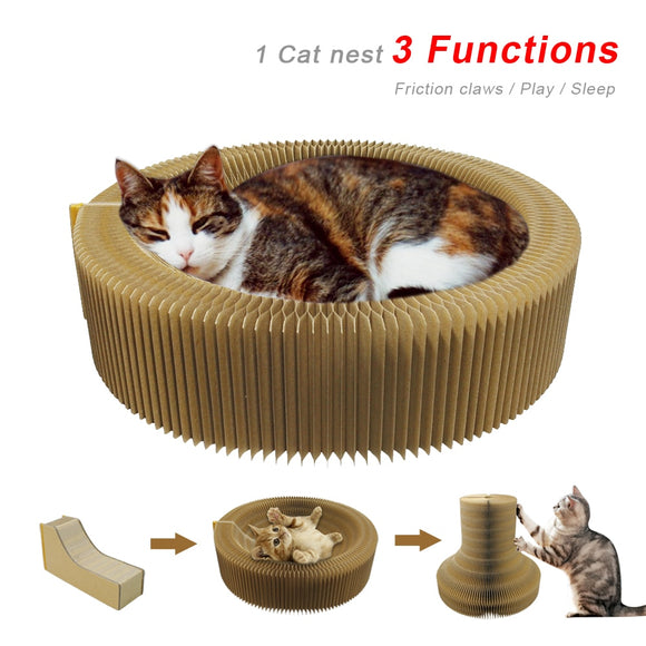 Funny Cat Scratch Board Cats Kitten Scratching Training Toy Tunnel Foldable Portable Furniture Scratcher Board