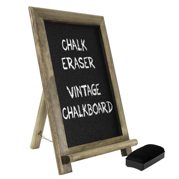 HOMEMAXS Mini Vintage Chalkboard Free Standing Wood Frame Blackboard with Support for Bar Countertop Restaurant and Home