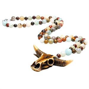Bohemia Necklace Natural Stone Bead Cow Head Pendant Chain Necklace for Men Women