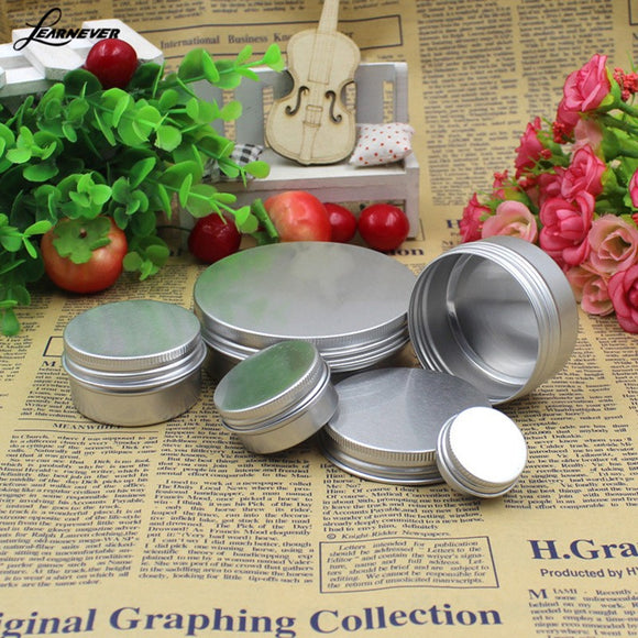 5 Pcs Empty Aluminium Cosmetic Pot Jar Tin Container Silver Sample Lined EPE Insert
